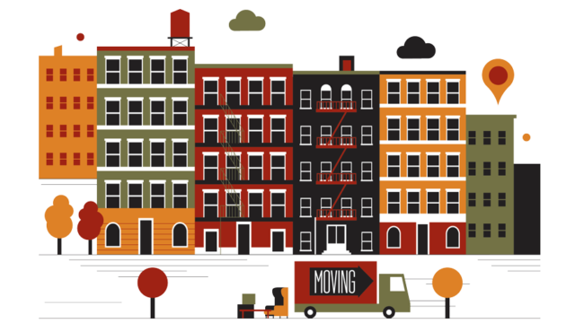 Illustration of buildings and a moving truck with items
