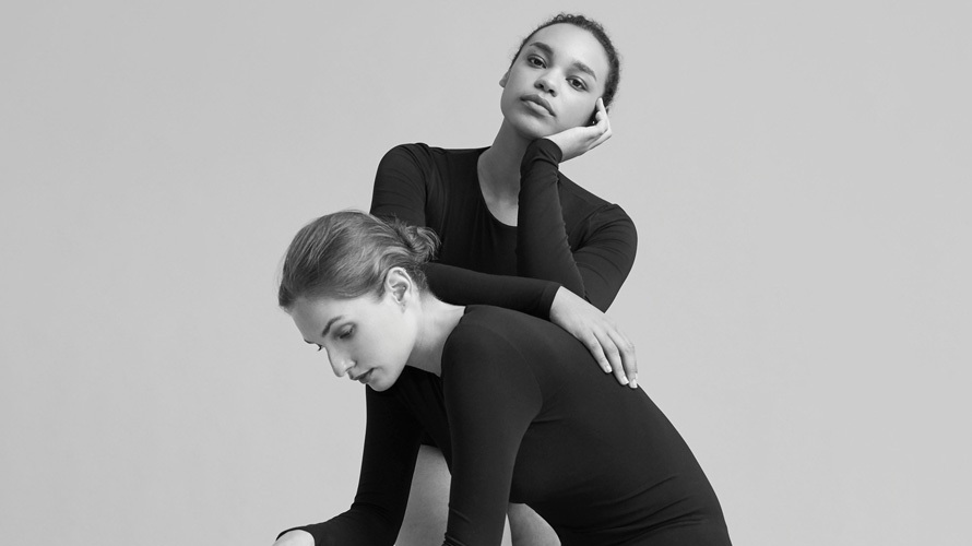 Black and white image of two models