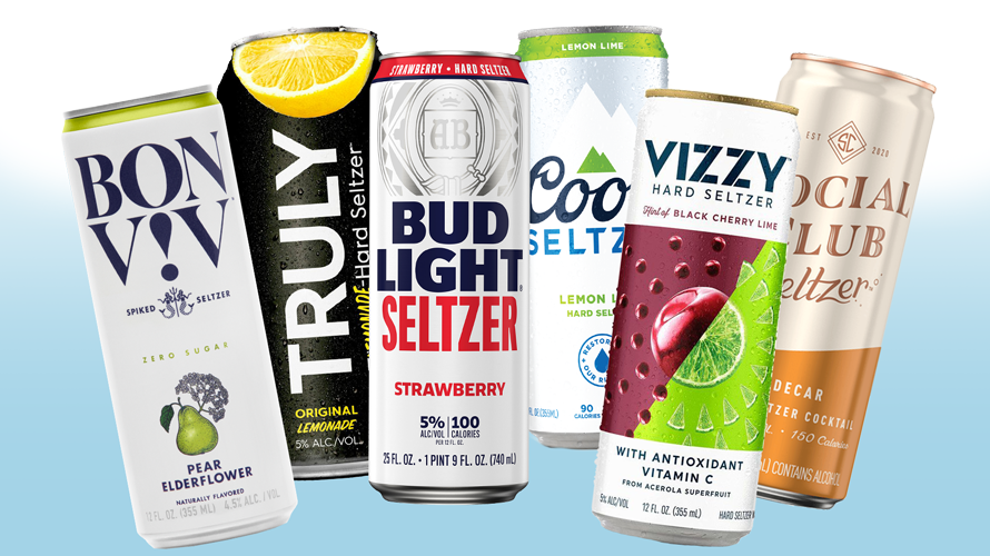 Photo of different hard seltzer cans