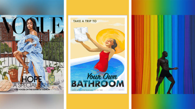 a vogue cover on the left, middle is a man in a pool, and the right in a silhouette in front of a rainbow