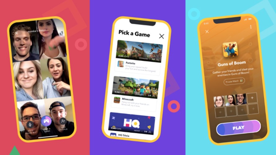 three phone screens, the first with six people's faces, the middle with various games that says pick a game, and the right