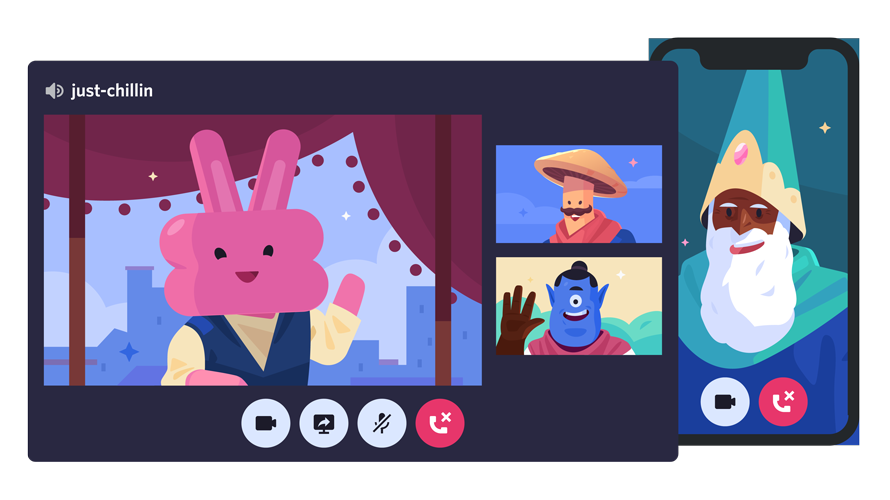 an animated video call with a pink bunny, mushroom with a mustache, cyclops and a wizard