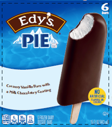 ice cream box with a chocolate and vanilla ice cream that says edy's pie
