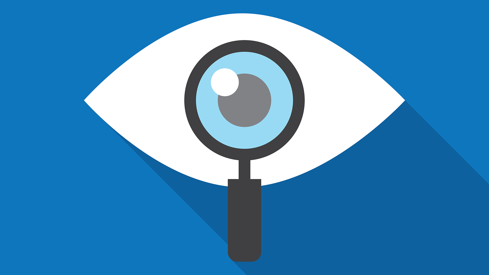 an eye with a magnifying glass held up to the pupil on a blue background