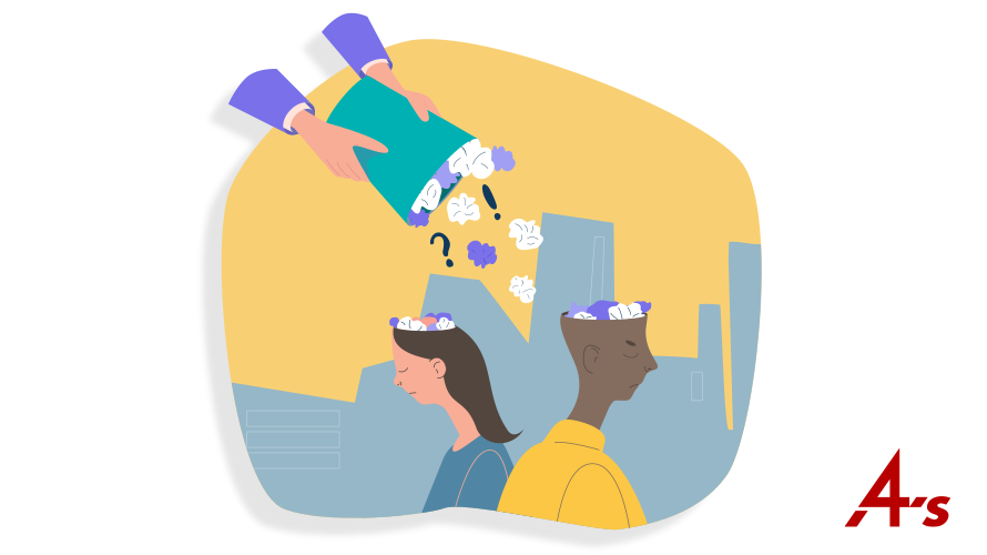 Illustration of hands on a garbage can spilling out things into people's heads