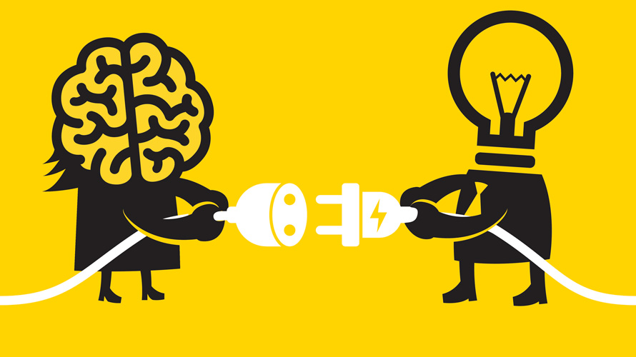 Illustration of a brain and a lightbulb each holding a plug
