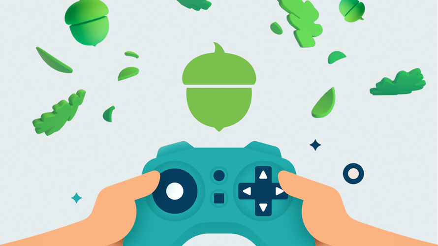 a person holding a blue gaming controller with a green acorn and green leaves floating around