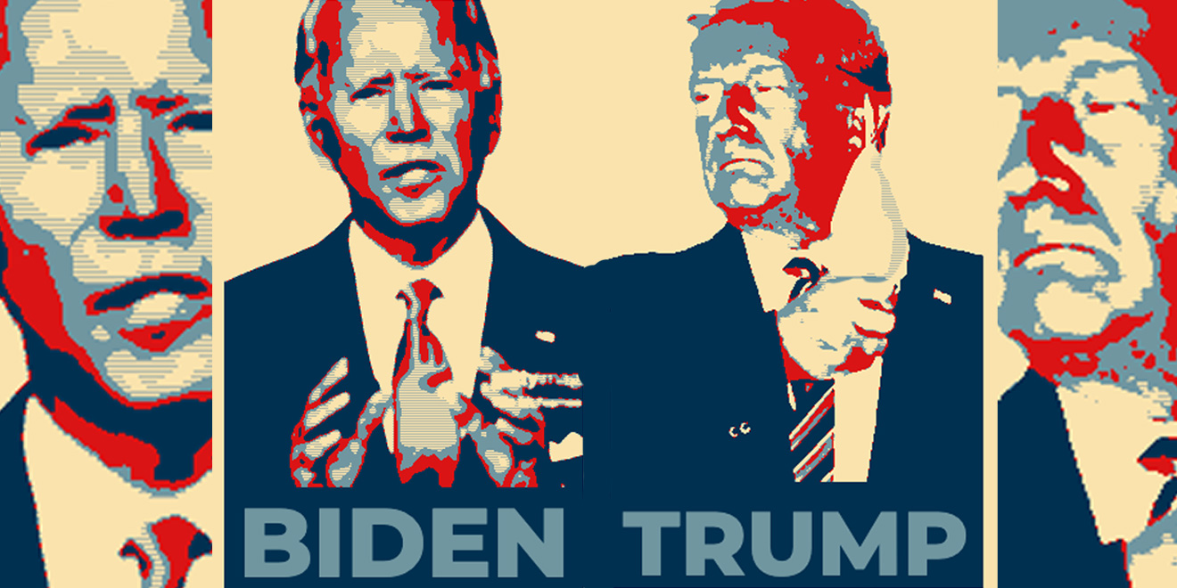Joe Biden and Donald Trump posterized images