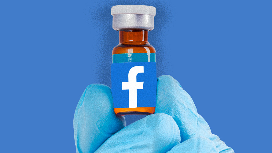 A blue glove holding a vaccine with the Facebook logo