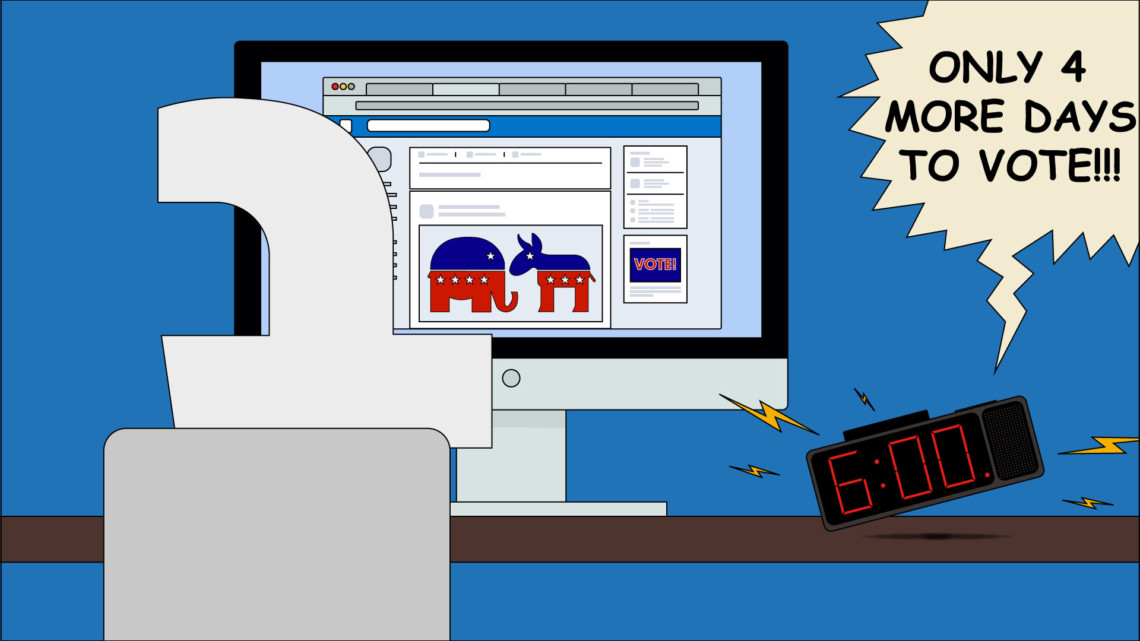 Illustration of the Facebook logo looking at a political ad
