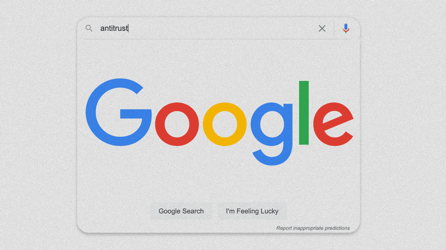 google search bar that says antitrust in the bar
