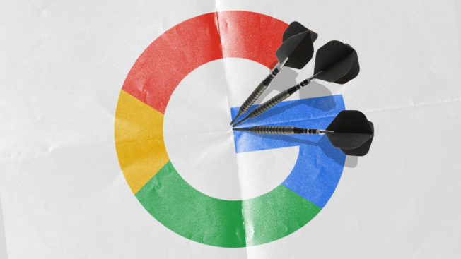 The Google logo with darts in it