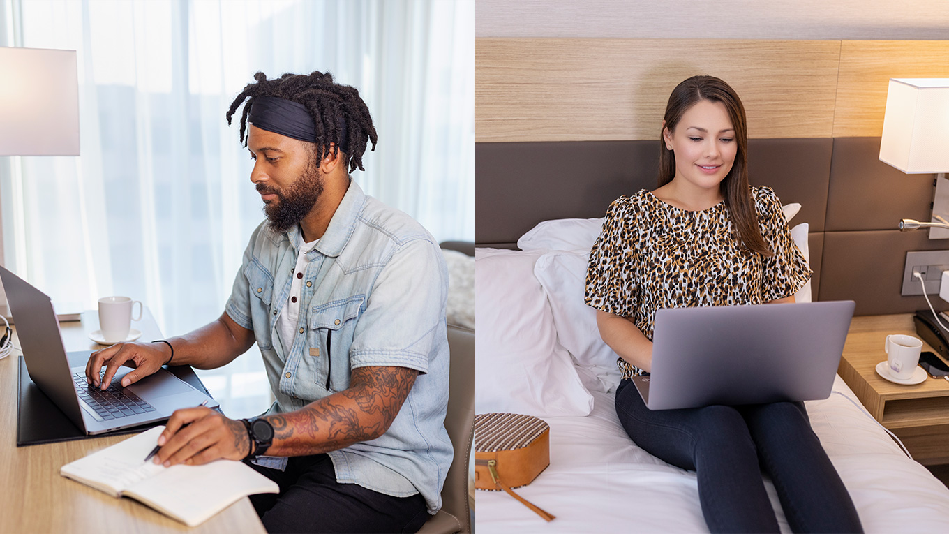 left side is a man working at a desk and right side is a woman working from a bed