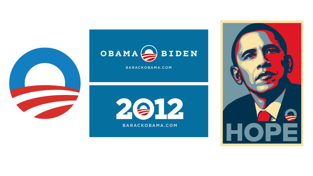 Obama's campaign assets and the artwork created around it in both 2008 and 2012 were groundbreaking for their clean, forward-thinking design.