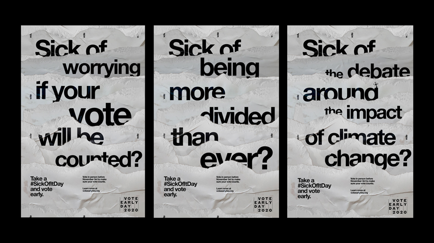 Images of the #SickOfIt ad campaign