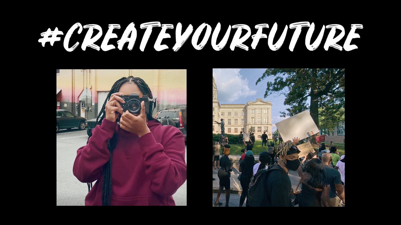 a woman looking through a camera and a scene of people outdoors with the hashtag create your future above