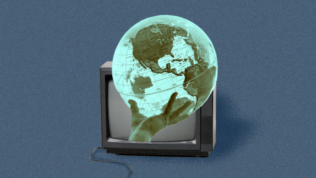 a globe coming out of a television screen