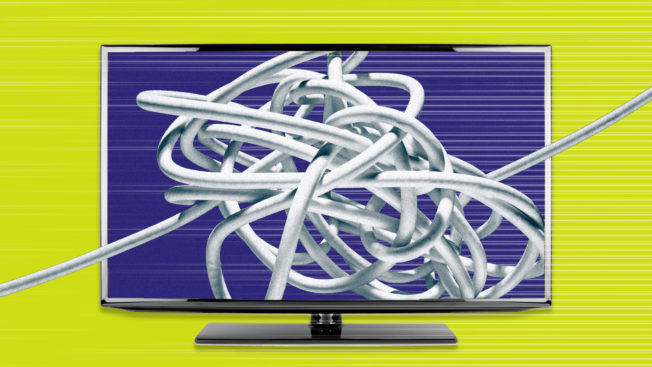 a tv screen on a yellow background with a tangle of wires on the screen