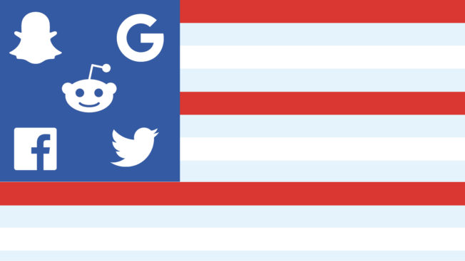 an american flag where the stars are social platform icons