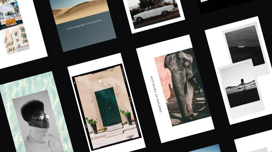 small rectangles of various images, such as a man in a turtleneck, an elephant and a green door to a home