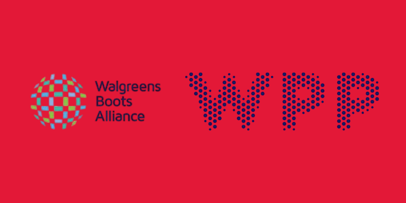 Walgreen Boots Alliance and WPP logos with a red background