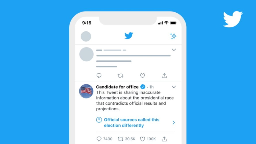 Twitter Outlines Steps for Tweets With Inaccurate or Premature Election Victory Claims