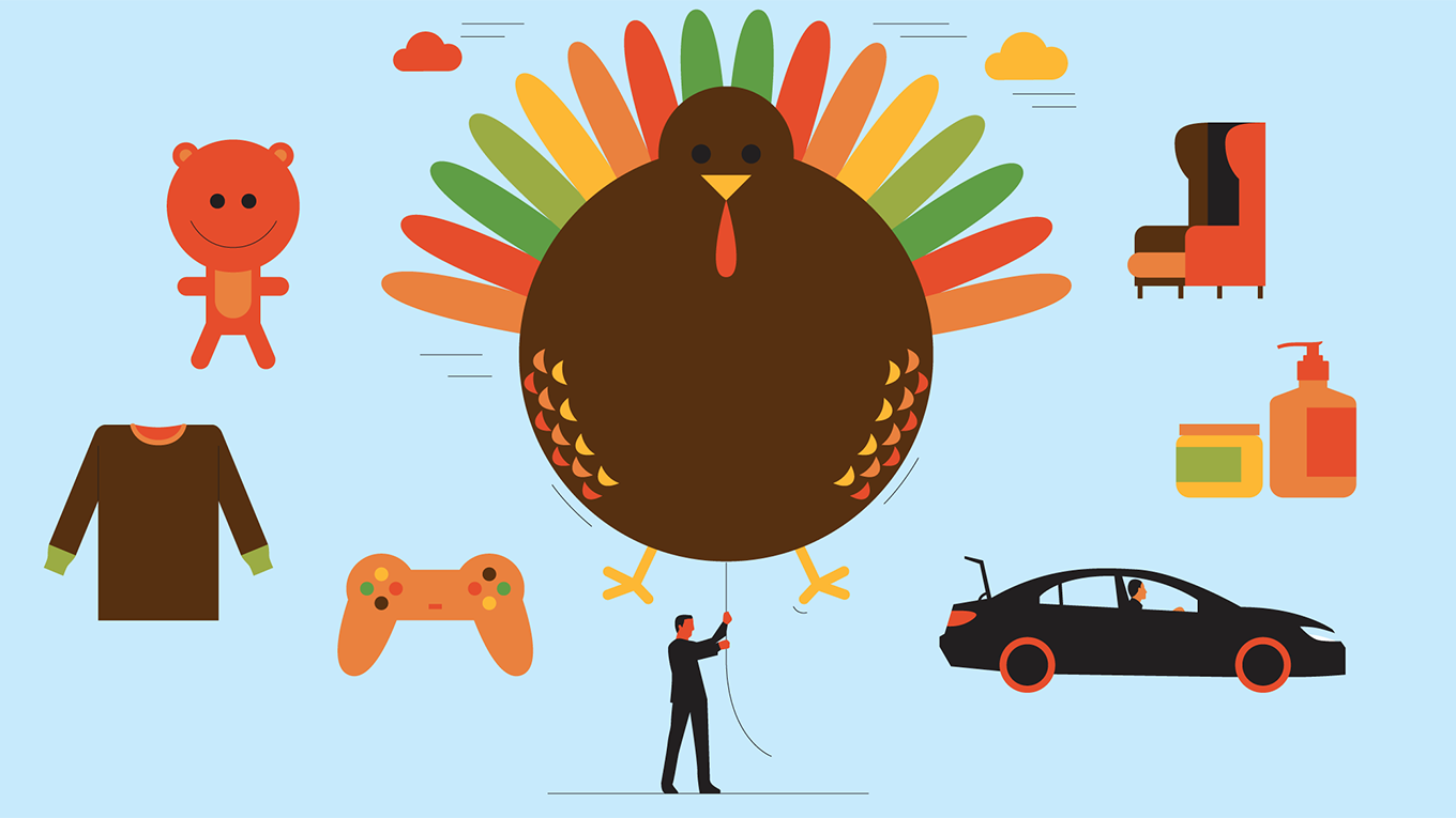 a man holding a turkey balloon surrounded by cars, video game controllers, and other icons
