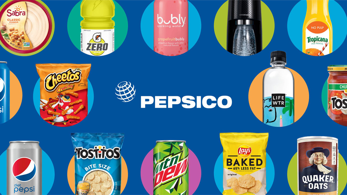 The PepsiCo logo and images of it brands