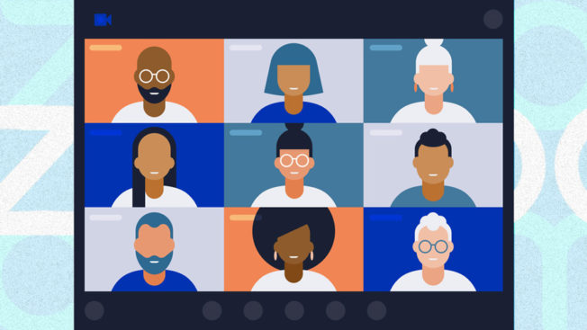 Illustration of people on a Zoom call