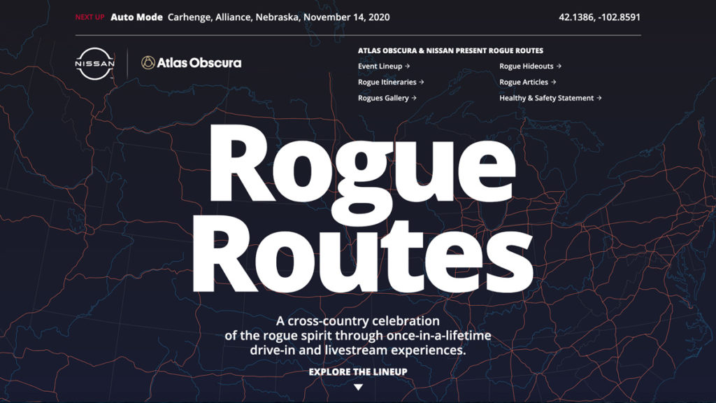 a road map that says rogue routes: a cross-country celebration of the rogue spirit through once-in-a-lifetime drive-in and livestream experiences.