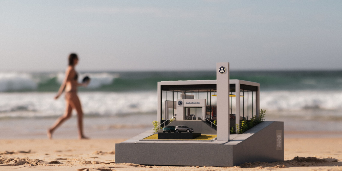 Volkswagen's tiny replica of a dealership on a beach