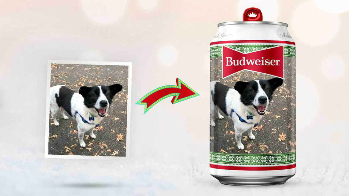 Budweiser can with dog on it