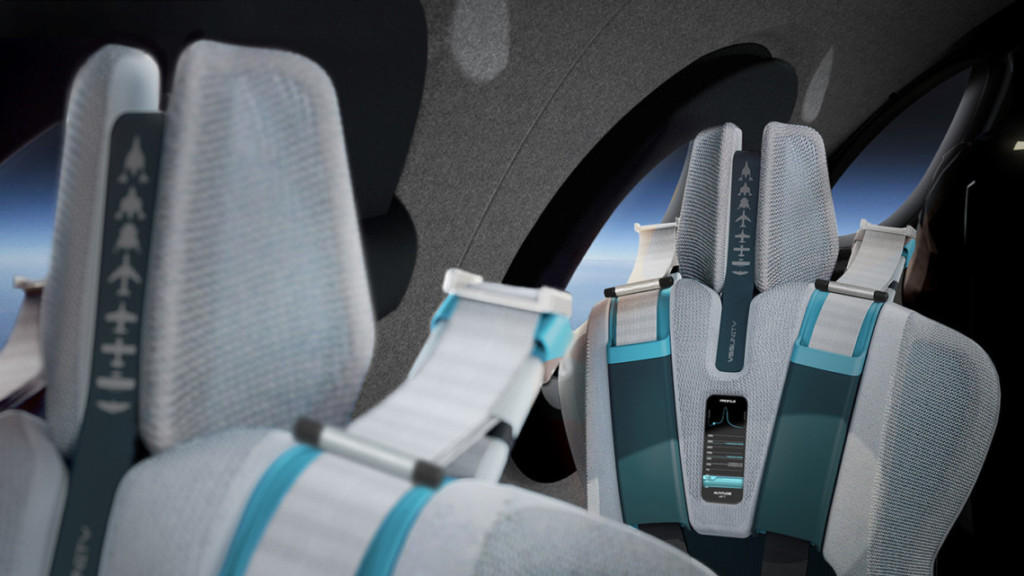 gray seats with white and turquoise straps in a spaceship