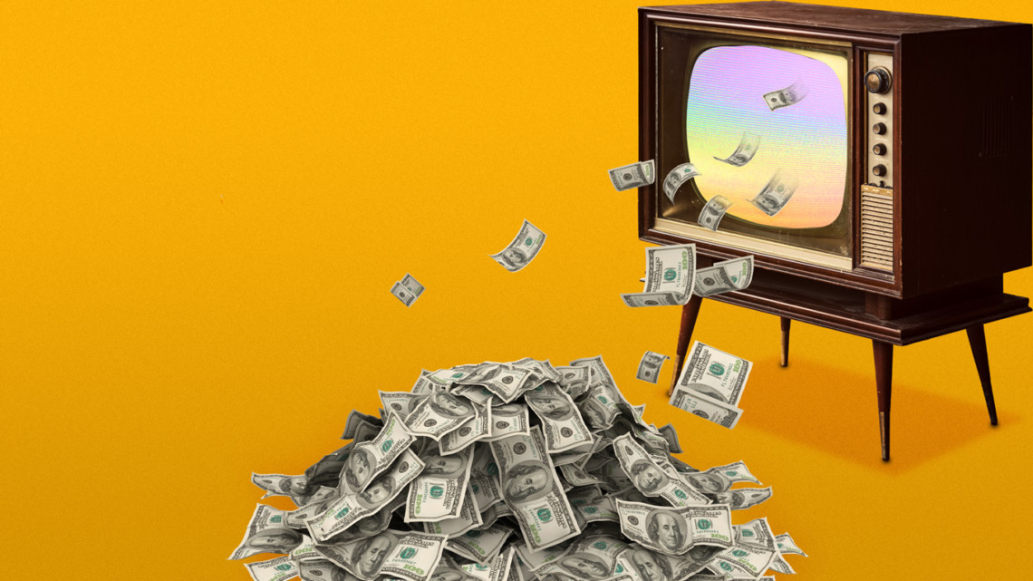 Money coming out of a TV