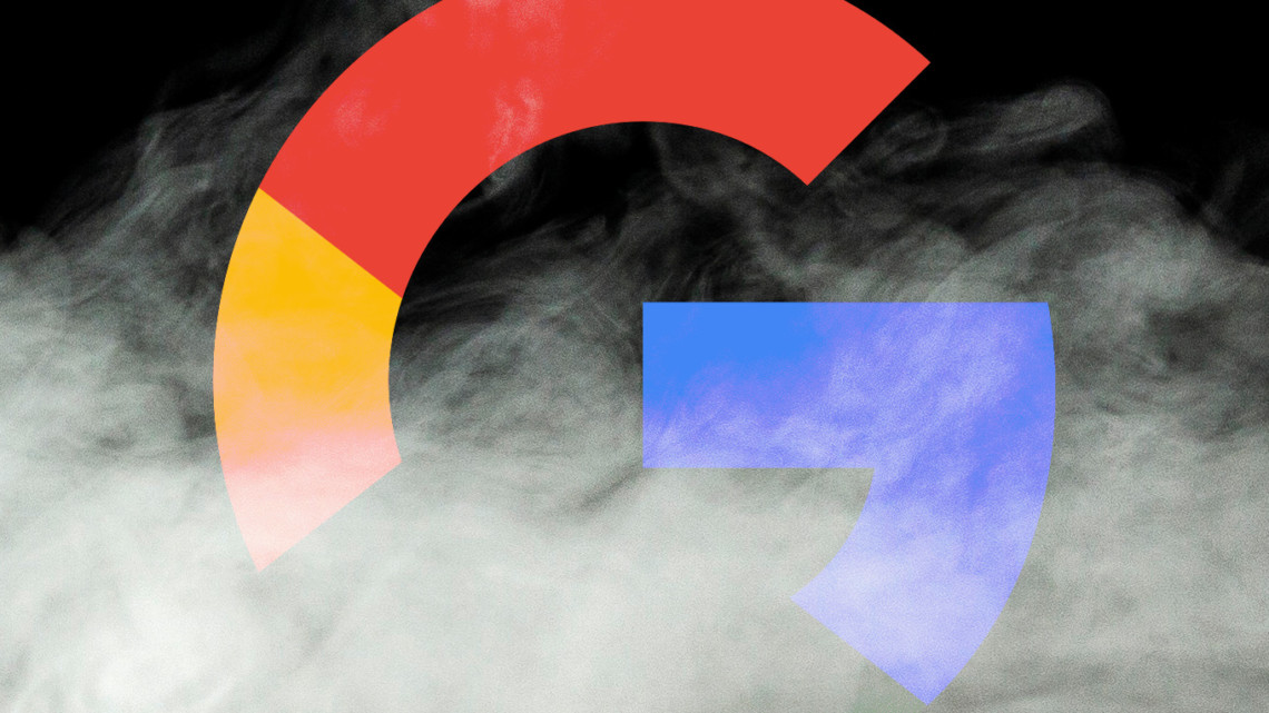 The Google logo surrounded by smoke