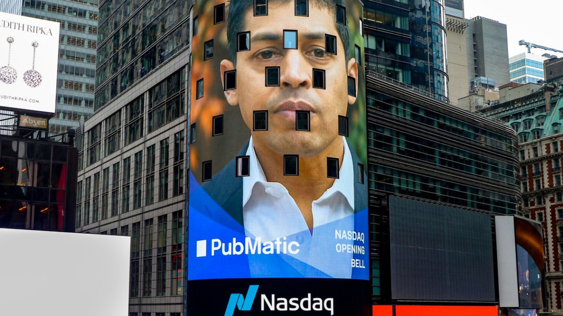 PubMatic CEO and co-founder Rajeev Goel on a billboard