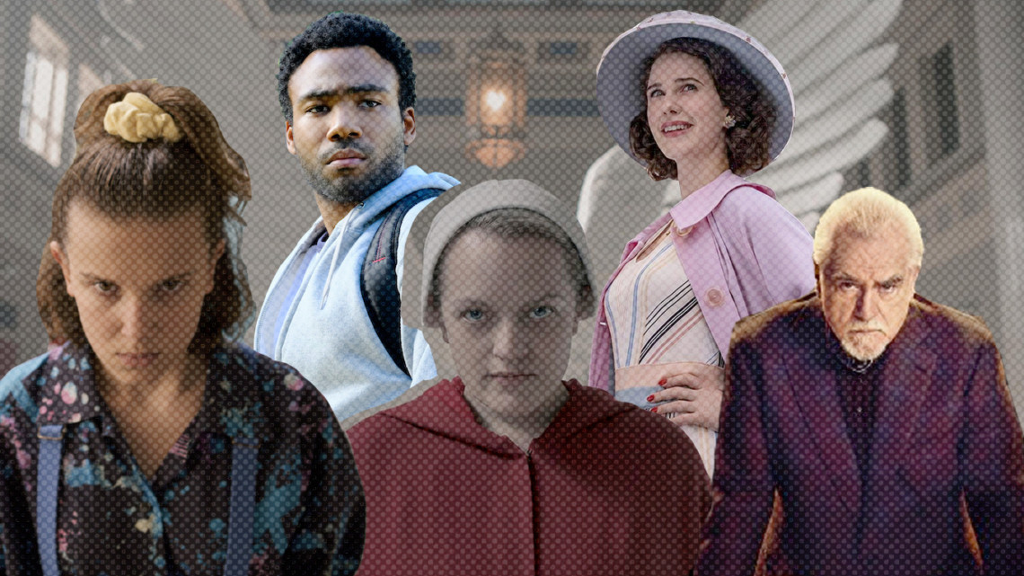 Characters from Stranger Things, Atlanta, The Handmaid's Tale, The Marvelous Mrs. Maisel and Succession