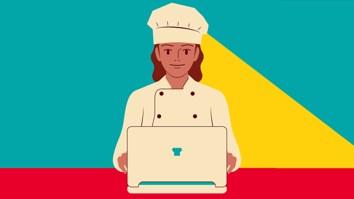 an illustration of a chef standing in front of a laptop