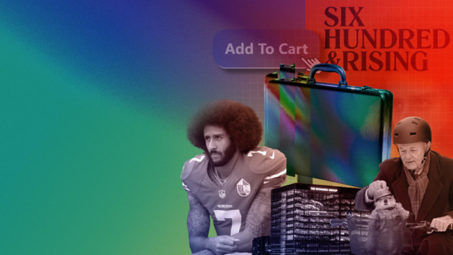 Illustration of 600 & Rising logo, Colin Kaepernick, an 'Add to Cart' button, The Richards Group building, a briefcase and Bill Murray with a groundhog