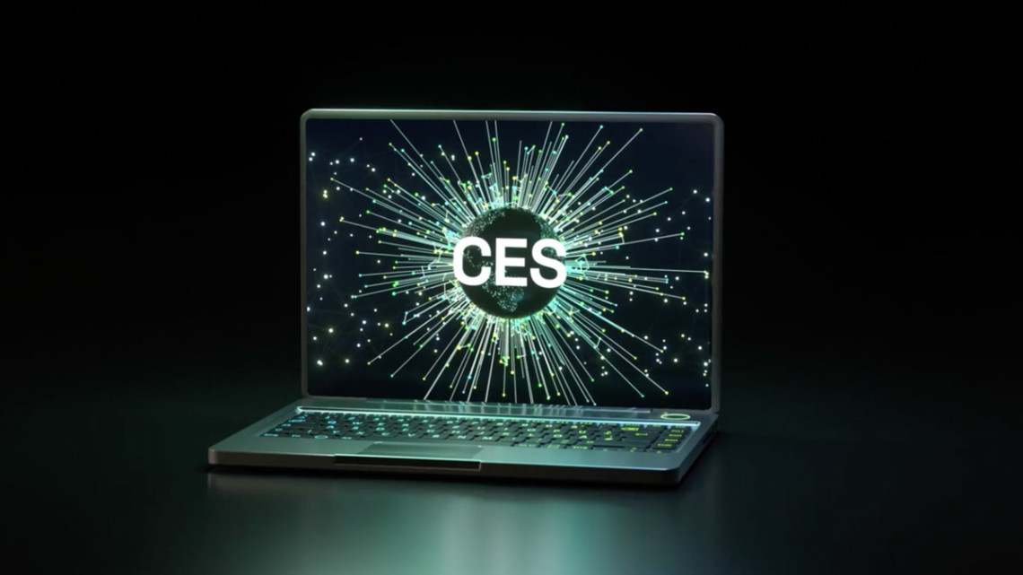 Laptop with the CES logo