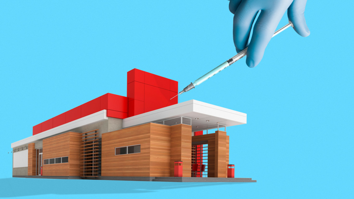 illustration of a building being given a vaccine