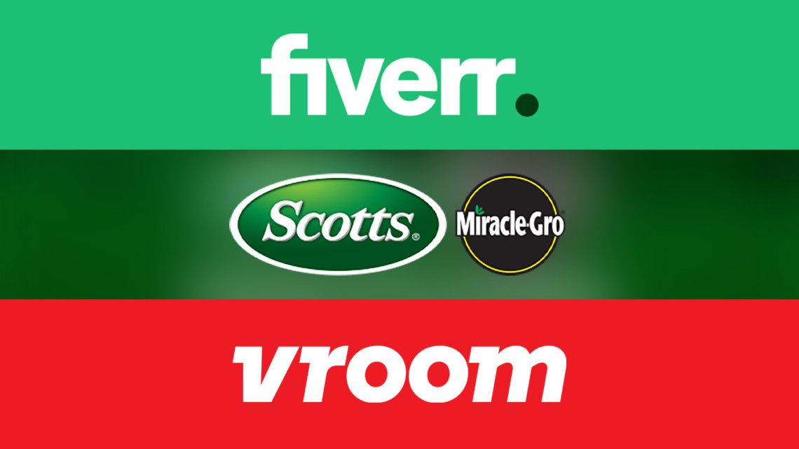 logos Fiverr, Miracle Gro and Vroom