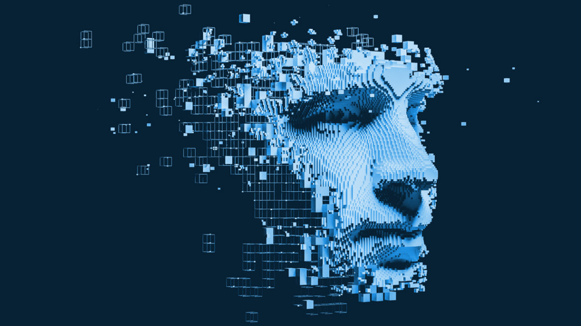 A human face and technology