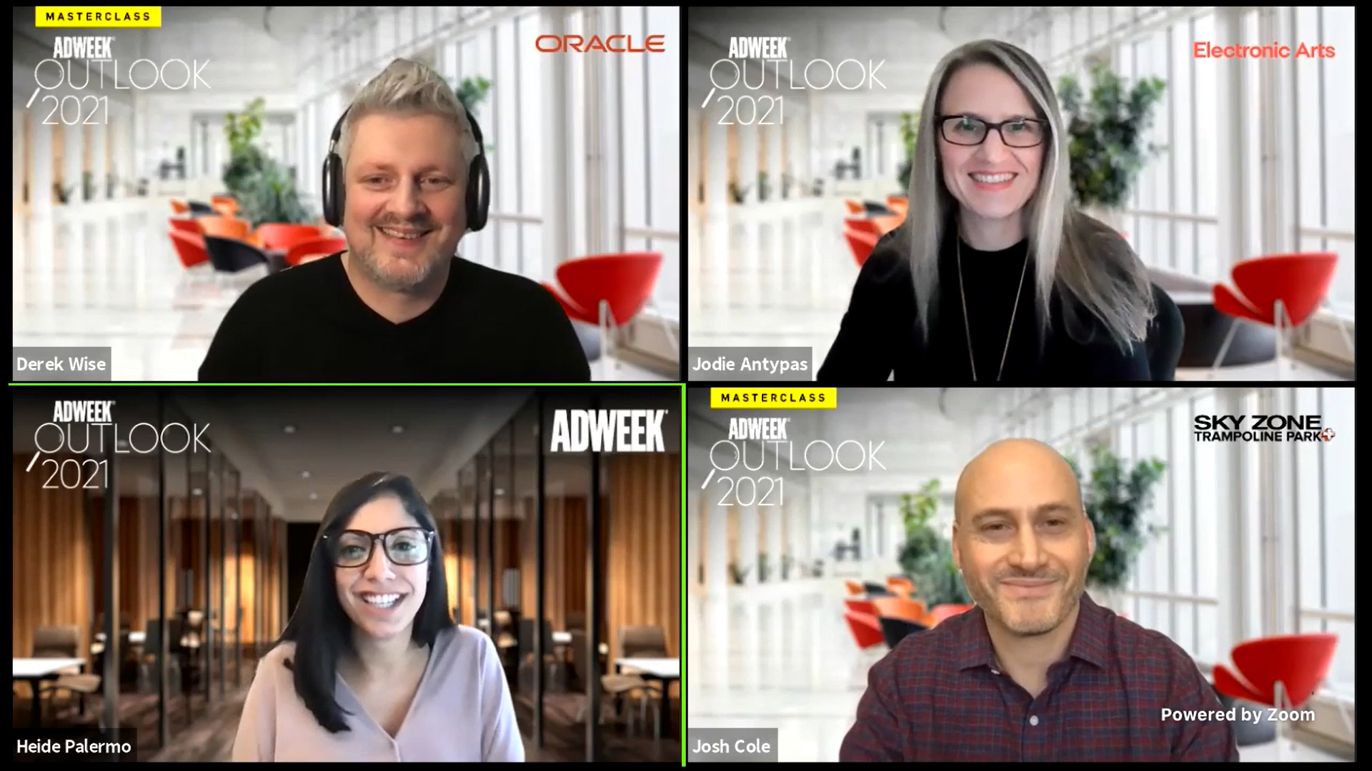 screenshot of 4 smiling individuals on zoom panel