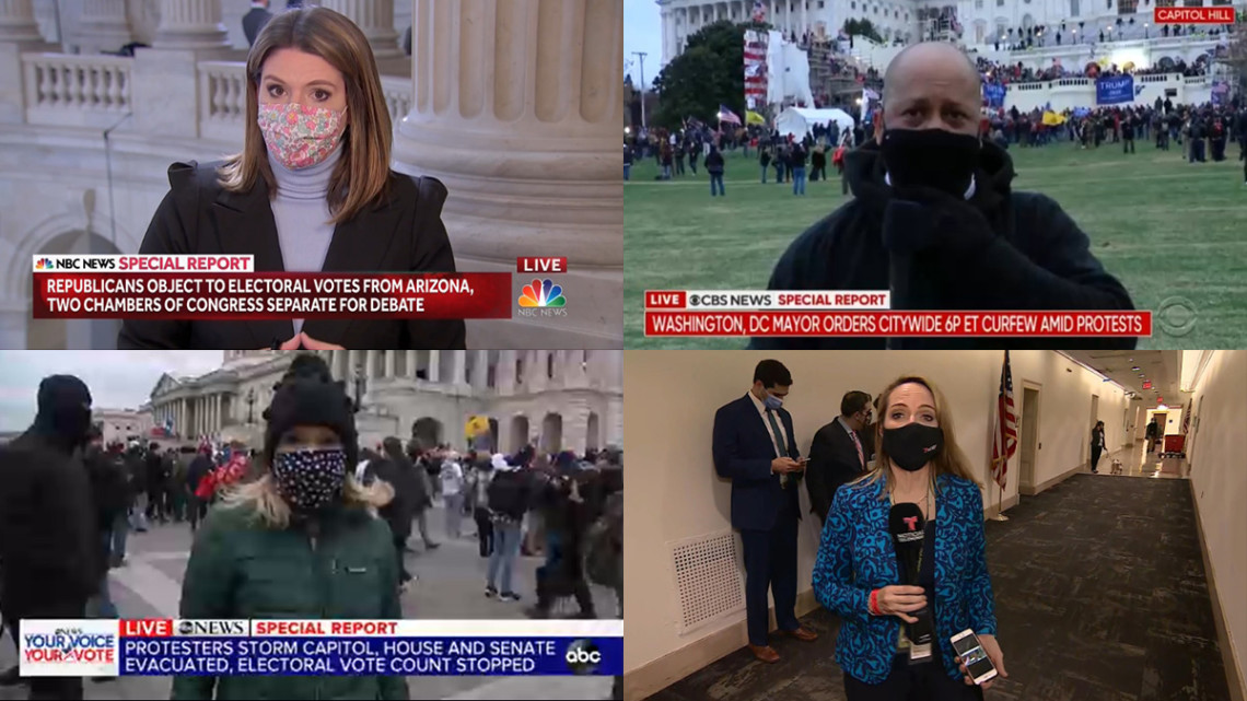 grid of four shots of reporters reporting from the capitol with masks on, some inside and some outdoors