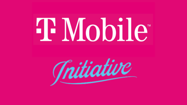 t-mobile and initiative logos on a bright pink background