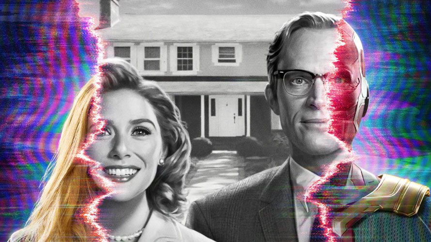 poster of wandavision, a woman on the left and man on the right as the photo distorts on the sides