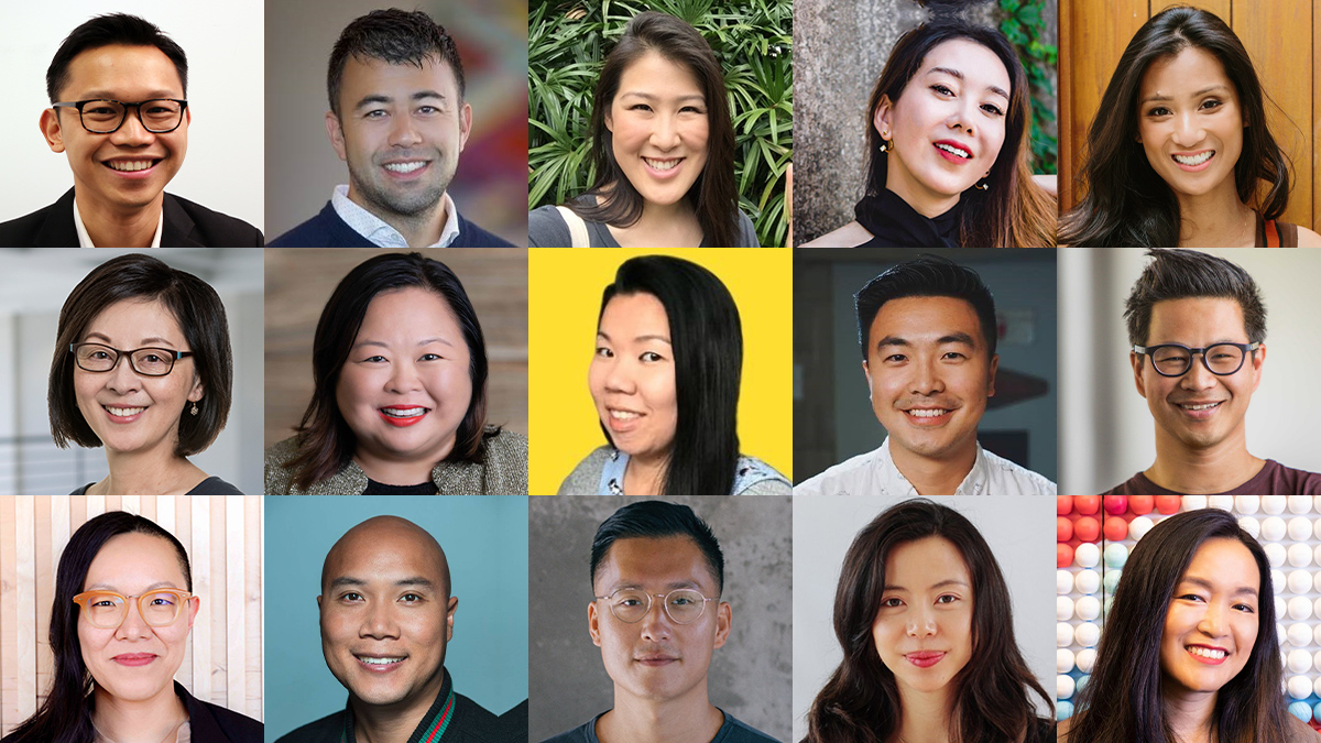 Collage of 15 Asian American leaders.
