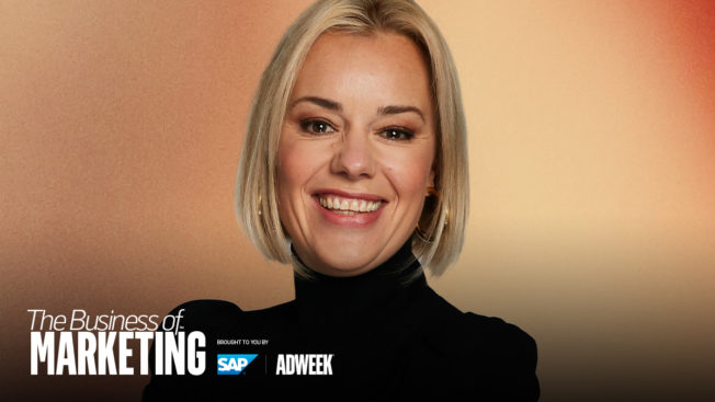 Blonde woman against tan background with Business of Marketing and SAP logos in the corner.