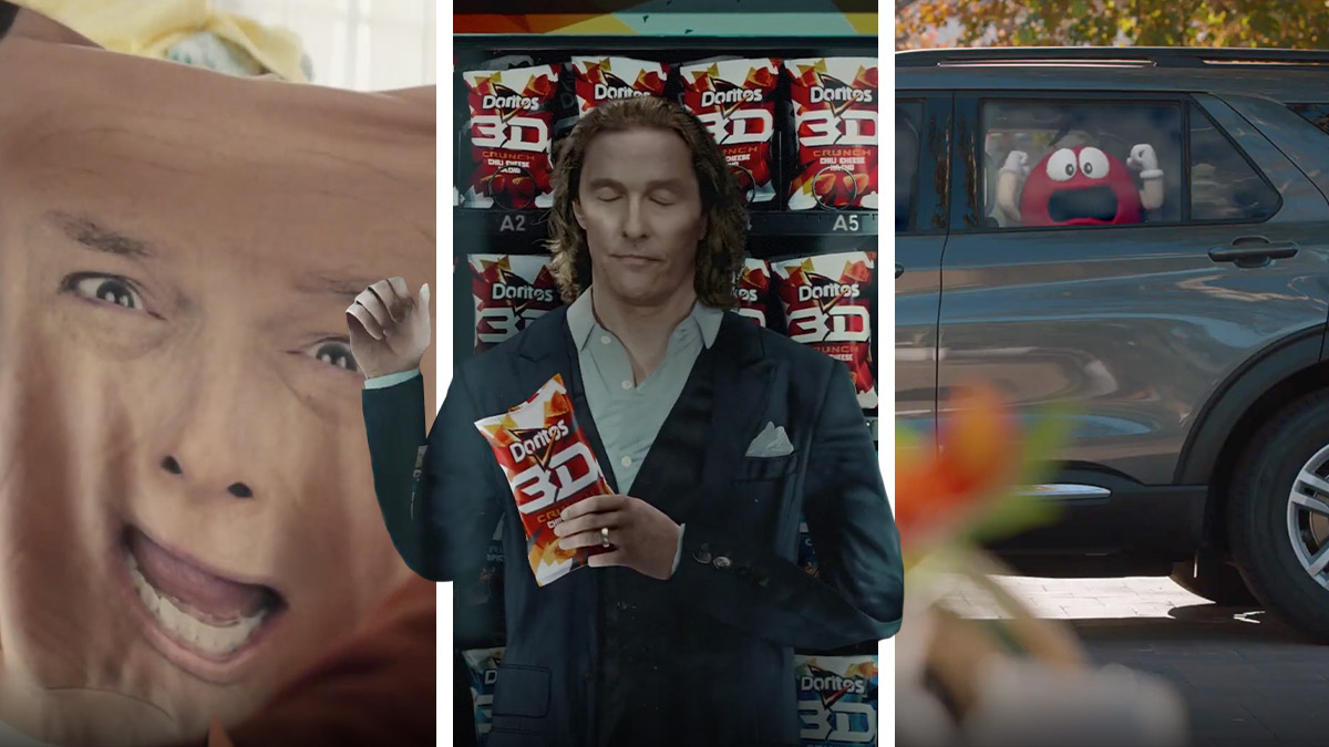 Stills from Tide, Doritos and M&M's Super Bowl ads